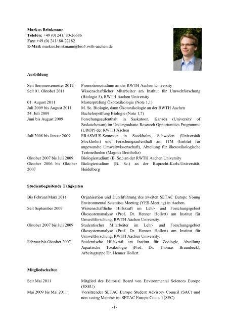 Lebenslauf Als Pdf Datei Institut Fur Okologie Okotoxikologie Und