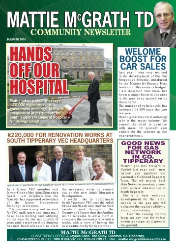 Summer 2010 Newsletter - Mattie McGrath