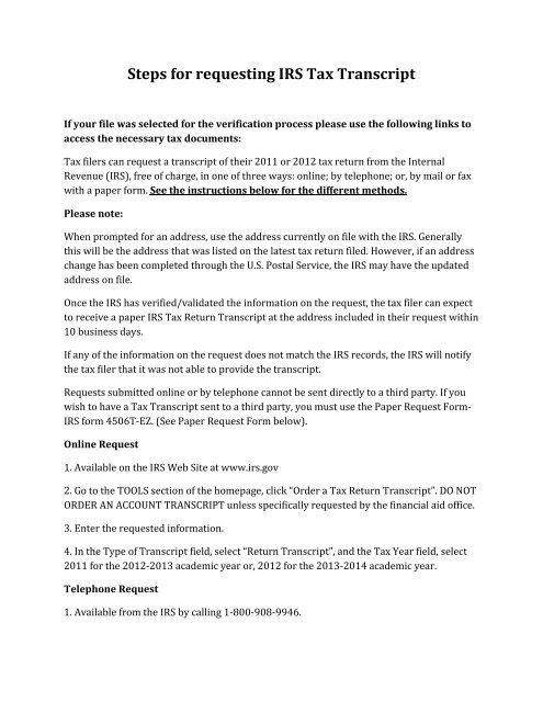 Instructions on Requesting IRS tax return transcript - Seminole