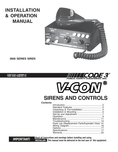 V Con Siren Installation Guide Code 3 Public Safety Equipment