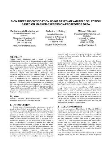 biomarker indentification using bayesian variable selection based ...