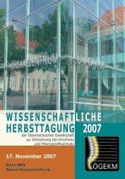 wissenschaftliche herbsttagung 2007