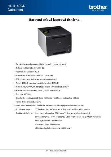 Barevná síťová laserová tiskárna. - Verso