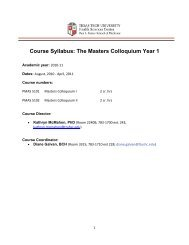 Course Syllabus: The Masters Colloquium Year 1