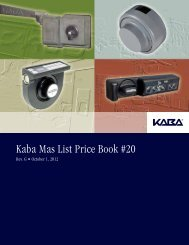 Kaba Mas List Price Book #20, Rev. G