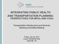 Integrating Public Health and Transportation Planning - NARC