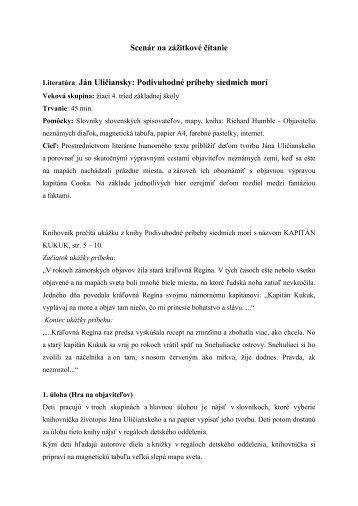 Scenár na zážitkové čítanie - kukucinka.eu
