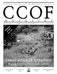 Consolidation in Organic Agriculture - CCOF