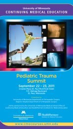 Pediatric Trauma Summit - University of Minnesota Continuing ...
