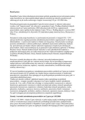 Praca i świadczenie usług na Cyprze - Centrum Informacji ...