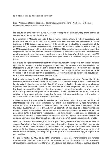 La mort annoncée du modèle social européen ... - Jourdan.ens.fr