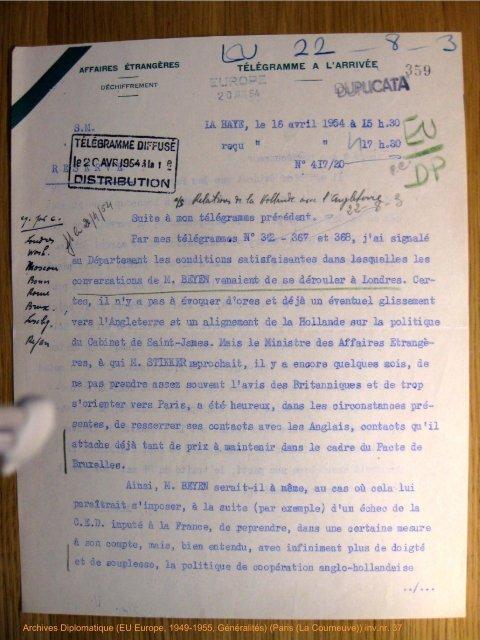 TELEGRAMME DIFFUSE |le2CAVKJ9544îaî g Ol S ... - Historici.nl