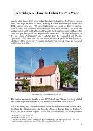 Eichreiskapelle in Wöhr - Neustadt an der Donau