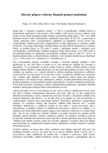 Důvody příprav reformy finanční pomoci studentům - ISEA