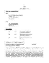 Resume Robert Nelson - University of Minnesota, Crookston