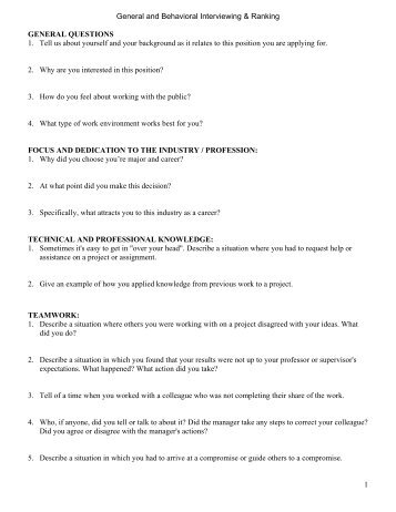 Behavioral Interviewing Questions   MMIA