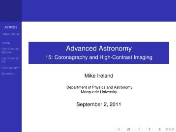 Advanced Astronomy - 15: Coronagraphy and High-Contrast Imaging