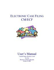 CM/ECF User's Manual - District of Massachusetts