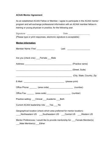 ACAAI Mentor Agreement Form