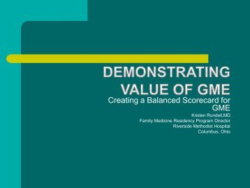 Demonstrating Value of GME