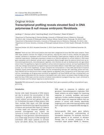 Original Article Transcriptional profiling reveals elevated Sox2 in ...