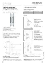 TECTUS TE 640 3D - TECTUS Concealed Hinges from Simonswerk