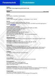 Fenstertechnik Produktdaten - Veka