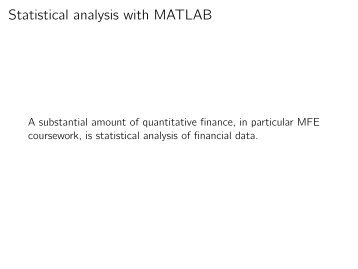 Statistical analysis with MATLAB
