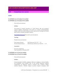 llb course descriptions 2006-2007 - Faculty of Law, The University of ...