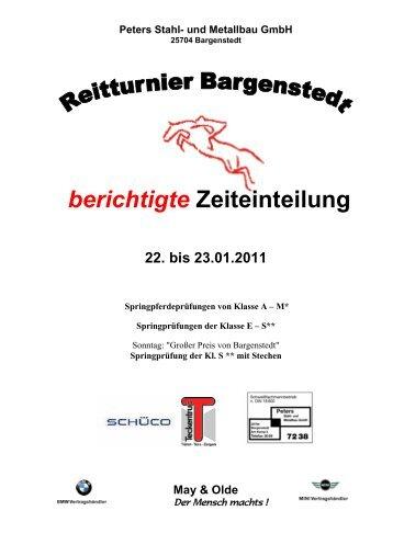 berichtigte Zeiteinteilung 22. bis 23.01.2011 - Bargenstedt