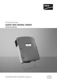 SUNNY MINI CENTRAL 7000HV - Installationsanleitung - PHOTOTEC