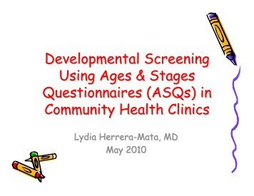 Developmental Screening Using Ages & Stages Questionnaires ...