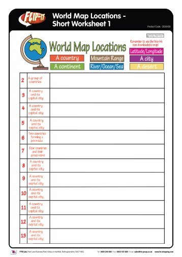 World Map Locations - Short Worksheet 1 - TTS