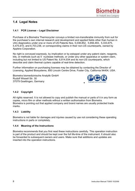 Instruction Manual - Biometra