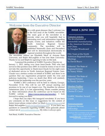 NARSC newsletter - North American Regional Science Council
