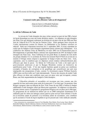 Revue d'Économie du Développement. Pp. 63-76. Décembre 2003 ...