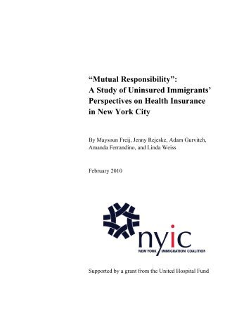 """Mutual Responsibility"": A Study of Uninsured Immigrants ..."