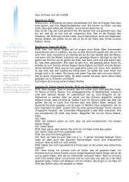 Hour of Power vom 25.10.2009 Begrüßung (RHS): Willkommen ...