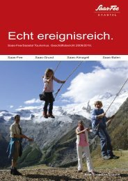 Geschäftsbericht Saas-Fee/Saastal Tourismus ... - RW Oberwallis