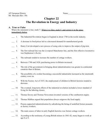 Chapter 22 The Revolution in Energy and Industry - Main