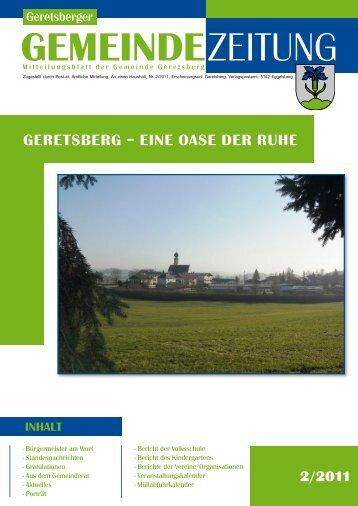 Gemeindezeitung 2/2011 (3,96 MB) - Gemeinde Geretsberg