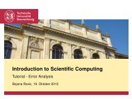 Introduction to Scientific Computing - Tutorial - Error Analysis