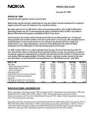 PRESS RELEASE NOKIA IN 1998 - Nokia Trader