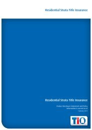 Residential Strata Title Insurance Residential Strata Title ... - TIO