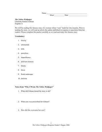the yellow wallpaper analysis pdf