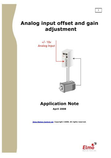 Analog input offset and gain adjustment - Elmo Motion Control