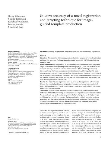 In vitro accuracy of a novel registration and targeting technique ... - SIP