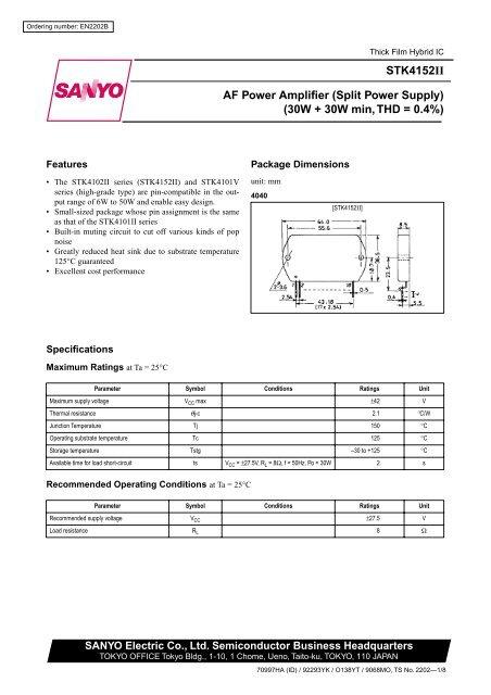 Hybrid-IC STK4152II ; Power Audio Amp