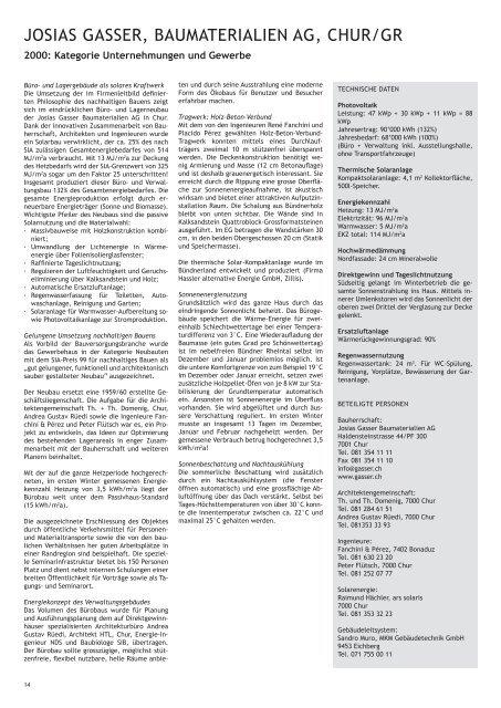 josias gasser, baumaterialien ag, chur/gr - Solar Agentur Schweiz