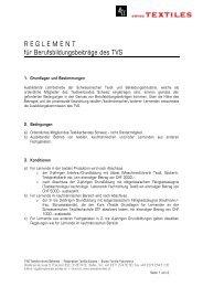 Reglement für Berufsbildungsbeiträge - Textilverband Schweiz